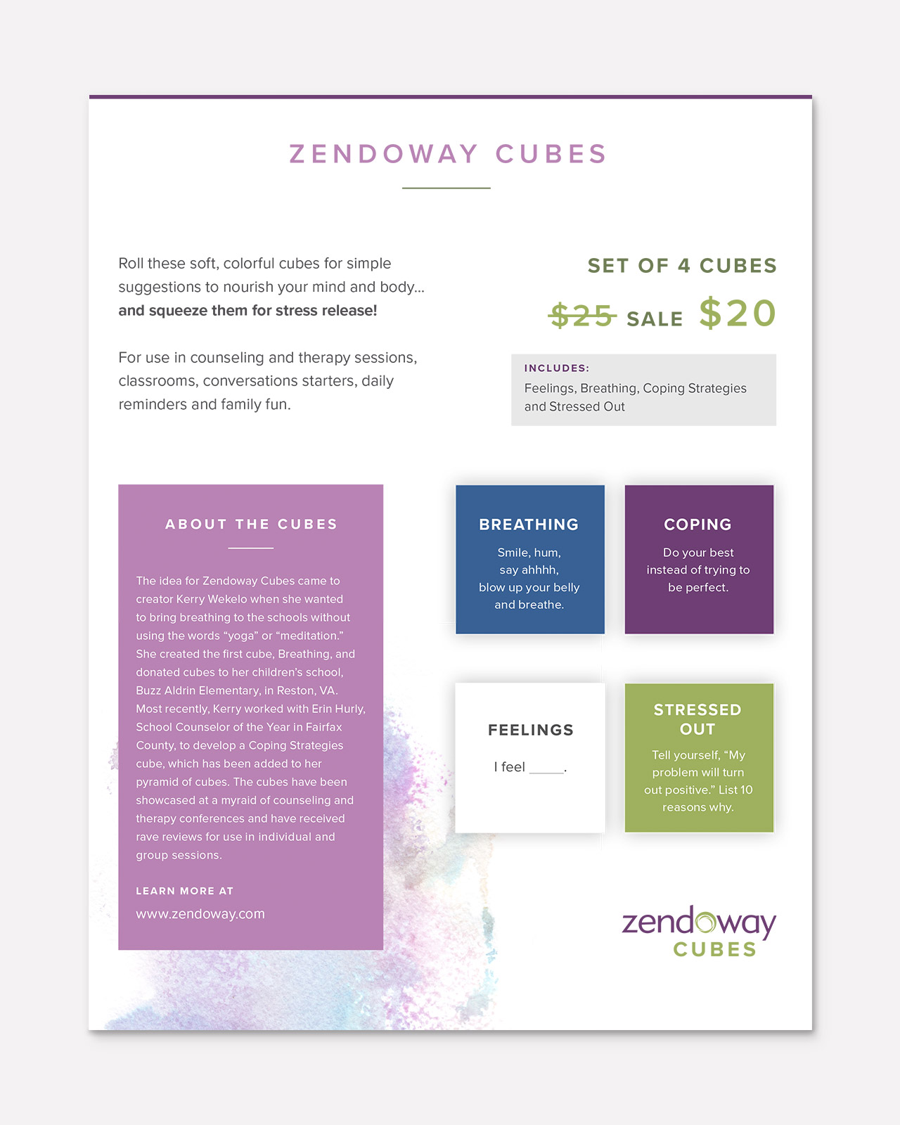 Zendoway Cubes Sell sheet design