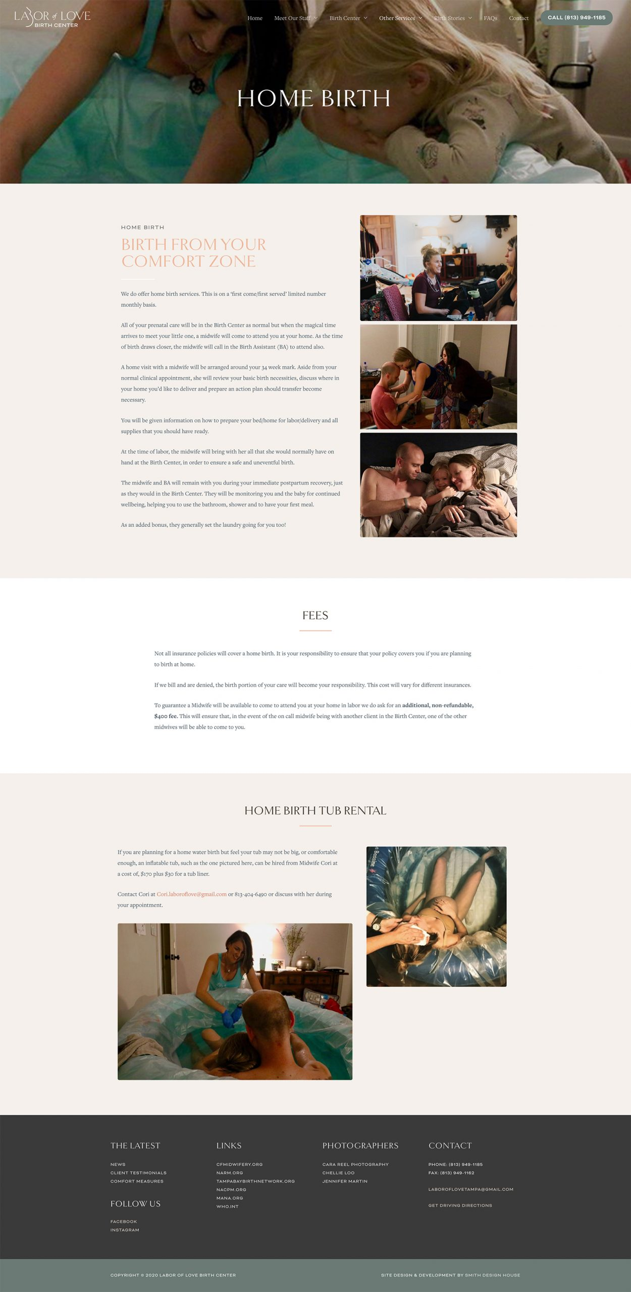 Labor of Love Home Birth page design