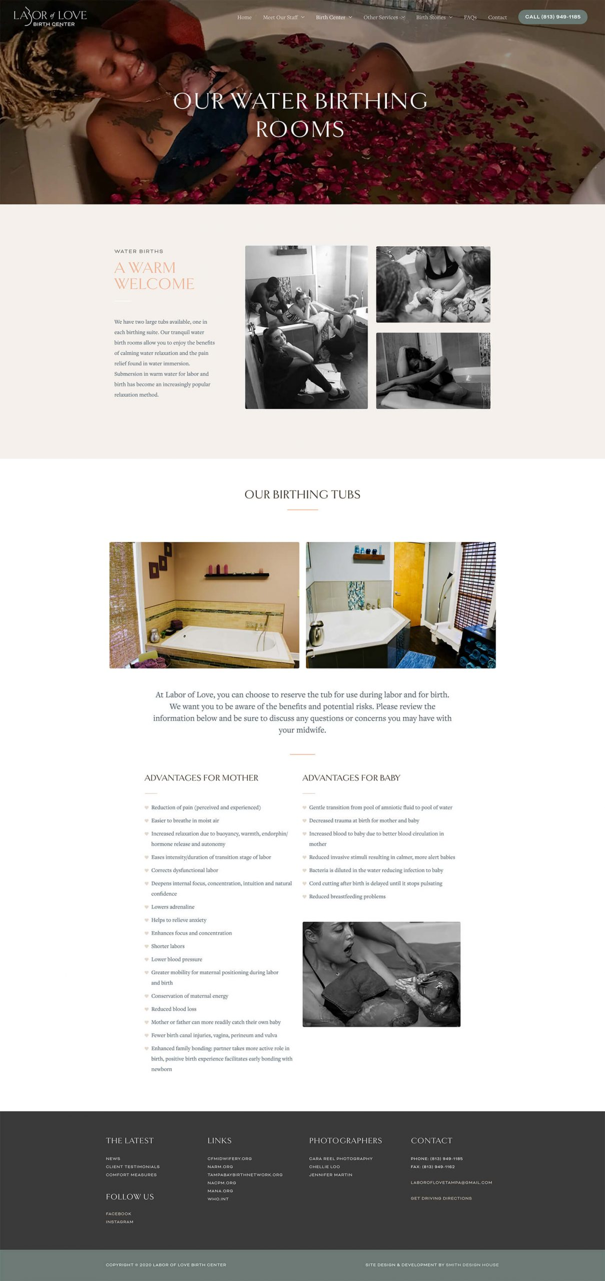 Labor of Love Water Birth Rooms page design