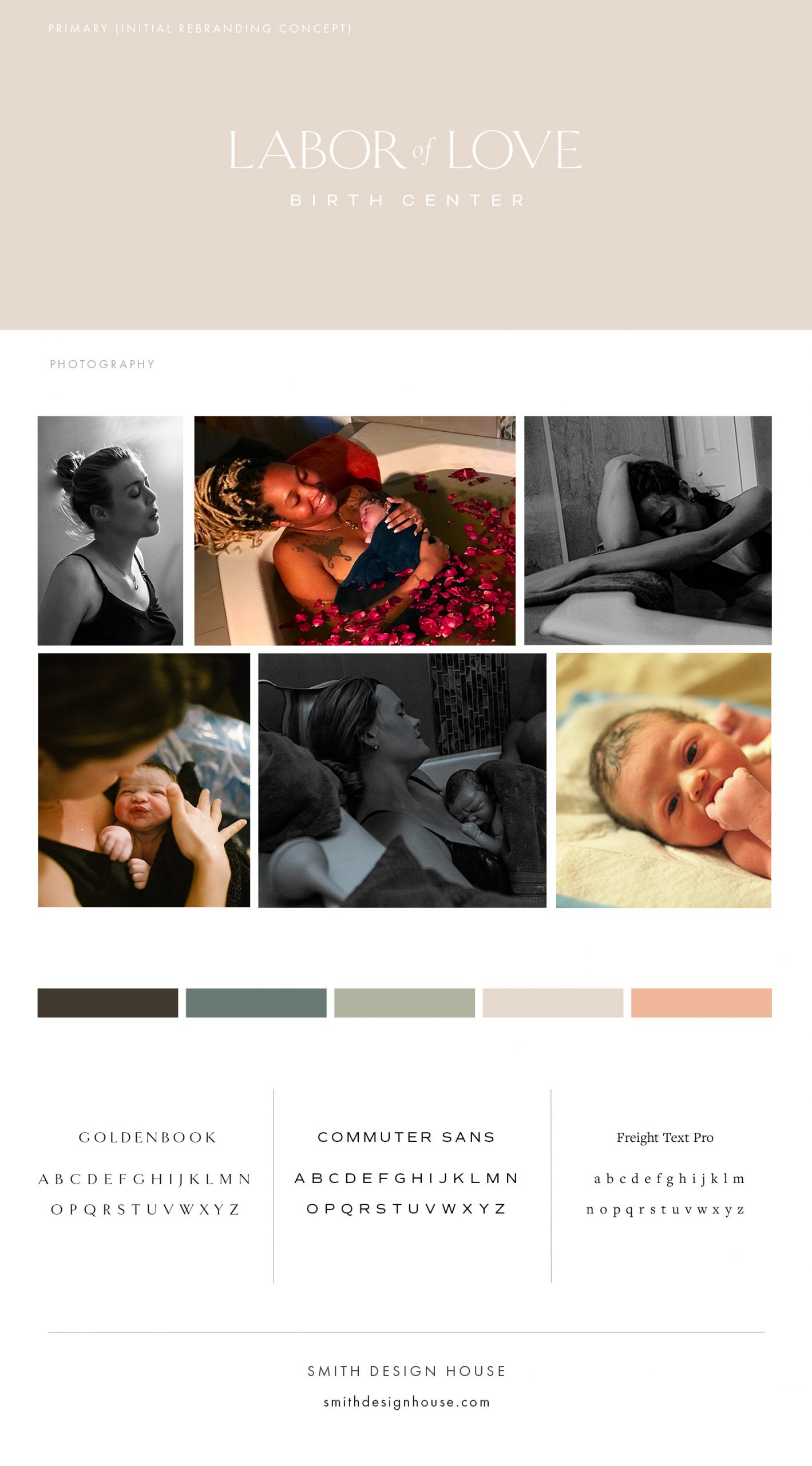 Labor of Love website brand board by Smith Design House